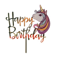 Happy Birthday Acrylic Unicorn Cake Topper