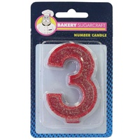 Glitter Numeral Candle - 3