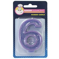 Glitter Numeral Candle - 6