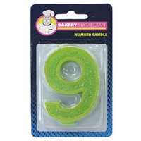 Glitter Numeral Candle - 9
