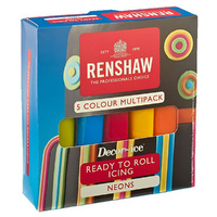 Renshaw Ready To Roll Multi Neon 5 Colour Pack
