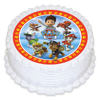 Paw Patrol Group Edible Icing Image - Round