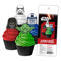 Star Wars Edible Wafer Cupcake Toppers - 16 Piece
