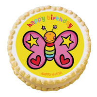 Happy House Butterfly Edible Image - Round