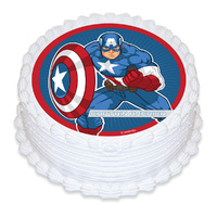 Captain America Edible Image - Round