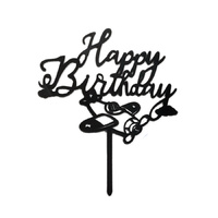 Acrylic Happy Birthday Airplane Topper Black