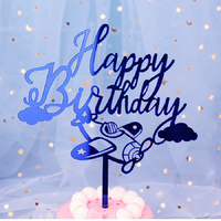 Acrylic Happy Birthday Airplane Topper Blue