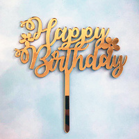 Acrylic Happy Birthday Flower Topper Gold