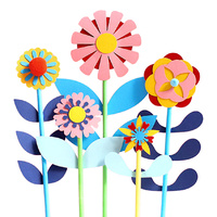 5 Piece Set Paper Flowers Cake Topper