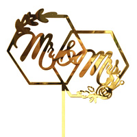 Acrylic Gold Cake Topper Mr & Mrs