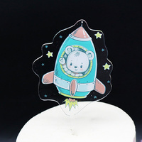 Acrylic Bear In Space ship Topper