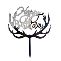 Acrylic Happy Birthday Antler Topper Silver