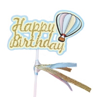 Balloon Happy Birthday Cake Topper Blue