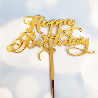 Acrylic Gold Birthday Topper 12cm