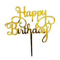 Acrylic Gold Birthday Topper 13cm