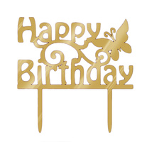 Happy Birthday Butterfly Gold Mirror Topper 15cm