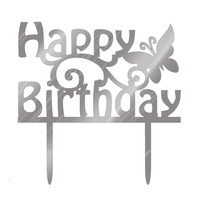 Happy Birthday Butterfly Silver Mirror Topper 15cm