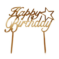 Acrylic Happy Birthday Gold Star Topper 13cm