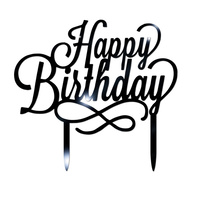Acrylic Happy Birthday Cake topper Black