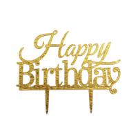 Acrylic Happy Birthday Cake topper Gold