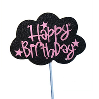 Cloud Happy Birthday Topper Black/Pink