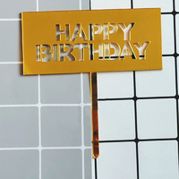 Gold Rectangle Acrylic Happy Birthday Topper