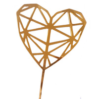 Acrylic Gold Heart Topper 15cm