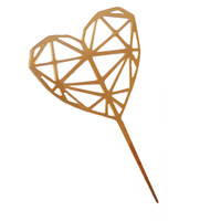 Acrylic Gold Heart Topper 13cm