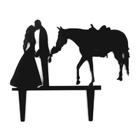Bride - Groom-Horse Cake Topper Black Acrylic
