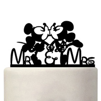 Black Acrylic Minnie and Mickey Wedding Cake Topper