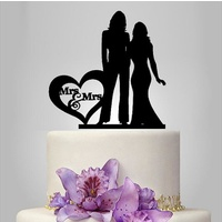 Black Acrylic Mrs & Mrs Cake Topper