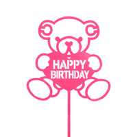 Acrylic Birthday Bear Topper Pink 15cm