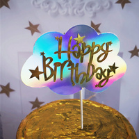 Cloud Happy Birthday Topper SIlver