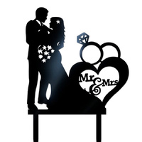 Black Acrylic Bride & Groom Wedding Cake Topper