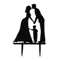 Bride & Groom With Child Wedding Cake Topper