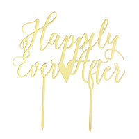 Acrylic Happily Ever After Topper Gold