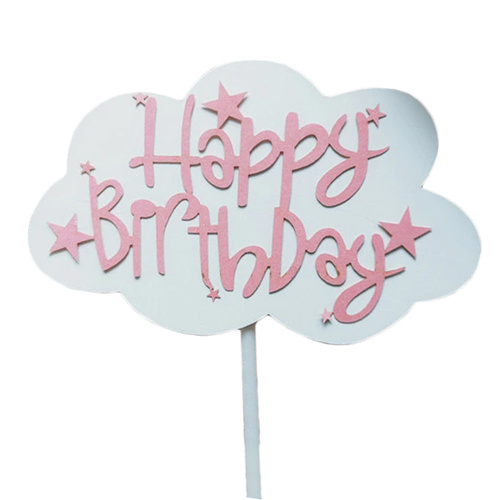 Cloud Happy Birthday Topper Pink