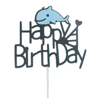 Blue Whale Happy Birthday Cake Topper