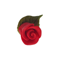 25mm Red Gumpaste Rose with Leaf