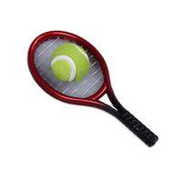 Miniature Red Tennis Racket And Ball Decoration