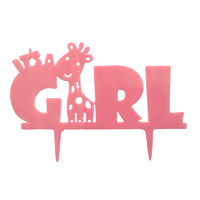 Acrylic Its A Girl Cake Topper Pink