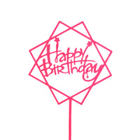 Acrylic Birthday Topper Pink Squares
