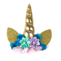 Unicorn Horn Cake Topper Gold With Flowers