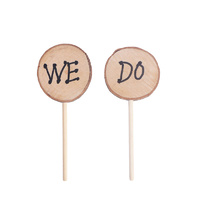 Round Wooden We Do Cake Topper