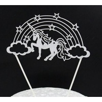 Unicorn Cake Topper Silver